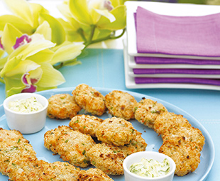 Shrimp Cakes with Cashews and Wasabi Mayonnaise
