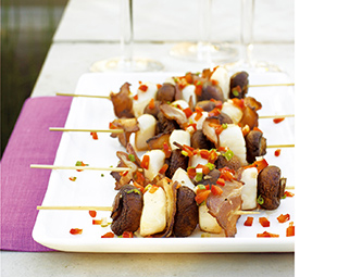 Scallop, Bacon and Mushroom Brochettes with Bell Pepper Salsa