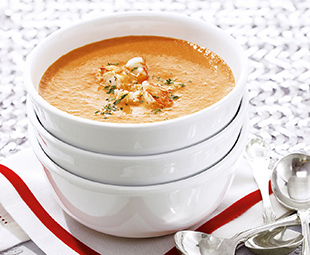 Tomato Bisque with Roasted Lobster