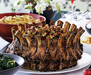 Slow Roast Crown of Pork with Fig, Cranberry Stuffing