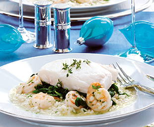 Pan-Roasted Halibut with Shrimp Risotto on a Bed of Spinach