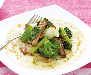 Crepes with Chicken and Asian Greens