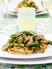 Asian Chicken on Noodle Nests with Sparkling Chardonnay