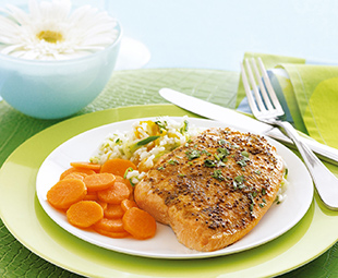 Curry Ginger Salmon with Apricot-Studded Rice and Cumin Carrot Coins