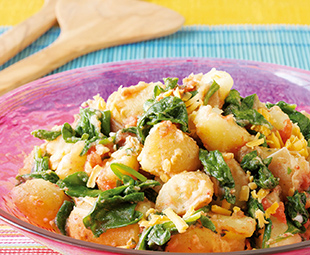 Forked Potato Salad with Roasted Tomatoes and Wilted Spinach