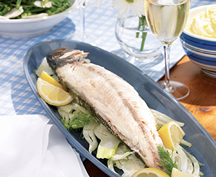 Bay of Quinte Pickerel Grilled over Vine Cuttings with Fennel