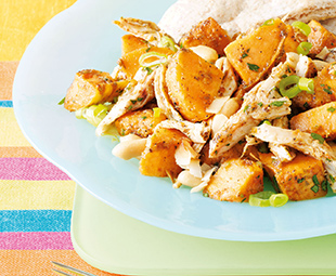 Island Sweet Potato Salad with Jerk Chicken