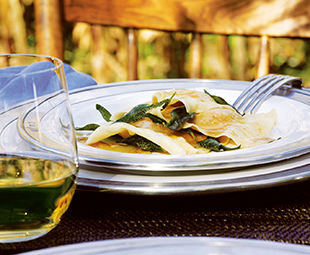 Squash Ravioli with Sage Butter Sauce