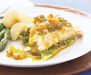 Stuffed Pickerel with Orange and Ginger Sauce