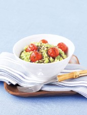 Wild Leek Risotto with Seared Cherry Tomatoes