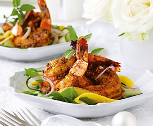 Coconut, Saffron Shrimp and Mango Salad