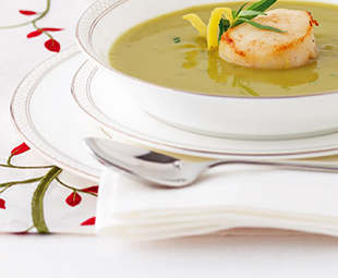 Tarragon Sweet Pea Soup with Seared Scallop