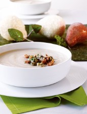 Celeriac and Pear Soup with Stilton and Walnuts