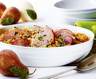 Choucroute Garni, Smoked Pork Chops and Pear