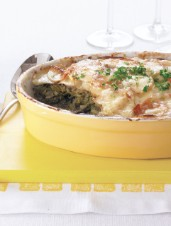 New Potato Gratin with Leeks and Spinach