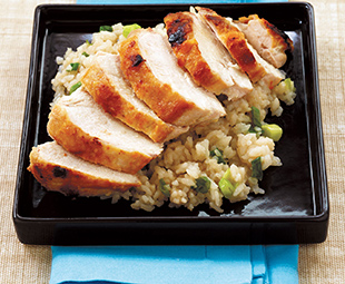Miso-Rubbed Roasted Chicken Breasts On A Bed Of Sushi Rice Pilaf