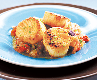 Moroccan Grilled Scallops with Eggplant Confit
