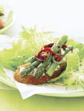 Spring Greens with Asparagus Crostini