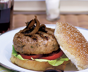 Chicken Burger Stuffed with Portobello Mushroom