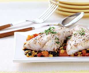 Grouper with Corn, Peppers, Cream and Spices