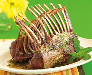 Roast Lamb Racks with Mint-Julep Glaze
