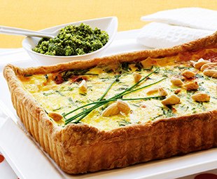 Vidalia Onion Tart with Spinach Pesto