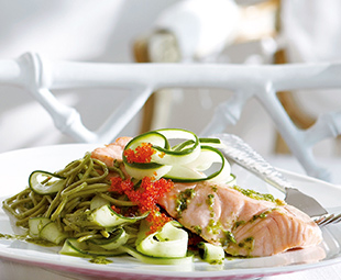 Poached Salmon with Green Tea Soba Noodle and Cucumber Salad