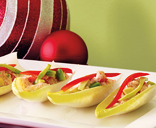 Crab Salad with Sweet Peppers and Avocado in Endive