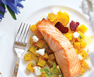 Maple Roasted Salmon with Winter Beets, Ricotta and Dill