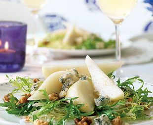 Frisée, Pear and Blue Cheese Salad with Vidal Walnut Vinaigrette