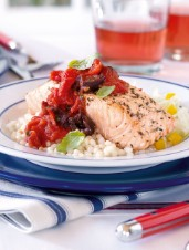 Salmon with Rosy Tomato Sauce