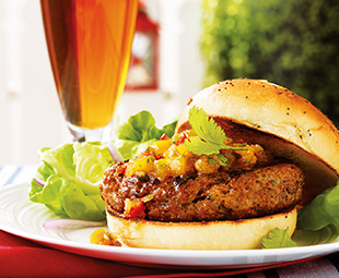 Curried Lamb Burger with Mango Chutney