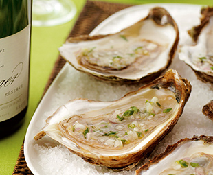 Malpeque Oysters with Lemon, Chive and Shallot Mignonette Sauce