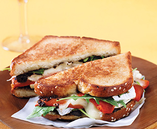 Brioche Grilled Cheese with Camembert, Tapenade & Home-Roasted Peppers