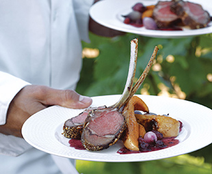 Late Berry-Crusted Ontario Lamb Rack with Cinnamon-Roasted Squash