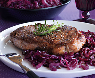 Sear-Roasted Steaks with Caramelized Purple Cabbage & Onions