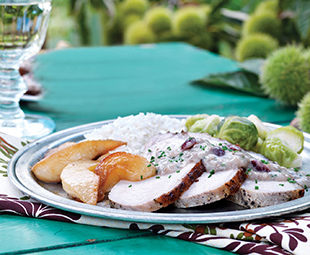 Pork Roast with Caramelized Pears, Cranberries & Chestnuts