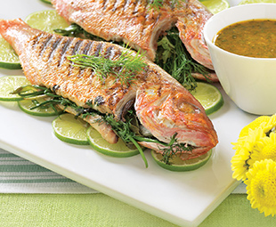 Herb-Stuffed Grilled Snapper with Spicy Dressing
