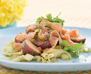 Asian Smoked Salmon and Potato Salad with Cucumber Fettuccine