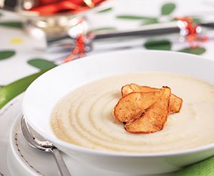 Cauliflower Soup with Spiced Pear Chips