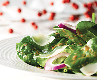 Spinach Salad with Fresh Cranberry Vinaigrette and Manchego