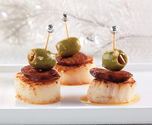 Scallops with Chorizo and Green Olives