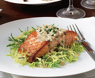 Seared Salmon with Calvados Cream Sauce on Frisée