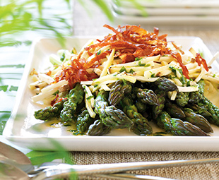 Asparagus and King Mushroom Salad with Crisp Prosciutto