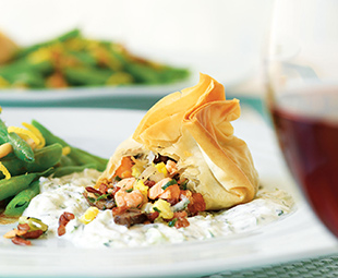 Coulibiac in Phyllo with Dilled Cucumber Relish