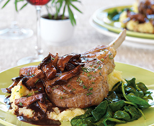 Roasted Veal Chops with King Mushroom Sauce