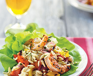 Orzo Salad with Grilled Vegetables & Shrimp