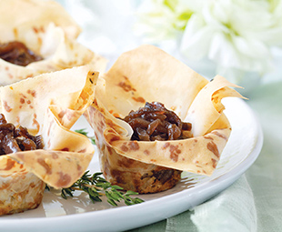Caramelized Onion Phyllo Tarts