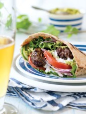Cumin & Cilantro Lamb Patties with Green Pea Hummus