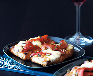 Focaccia Bruschetta With Roasted Red Pepper & Bocconcini